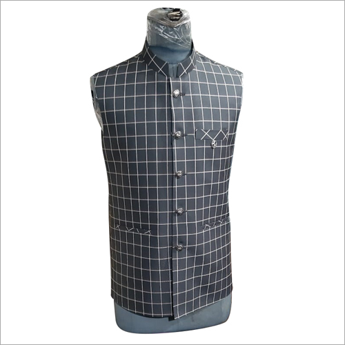 Mens Checked Jawahar Cut Jacket