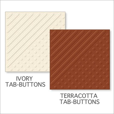 Ivory Tab Buttons-Terracotta Tab Buttons Tiles