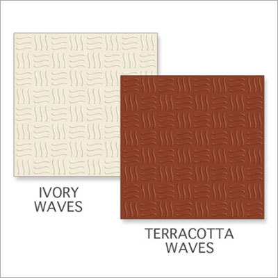 Ivory Waves-Terracotta Waves Tiles
