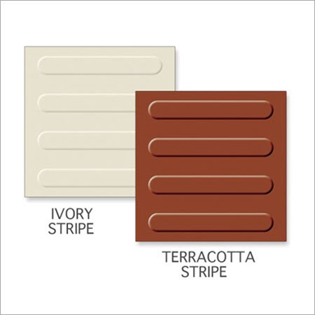 Ivory Stripe-Terracotta Stripe Tiles