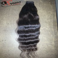 Double Drawn Machine Wefted Virgin Brazilian Hair Indian Temple Hair Raw