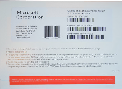 Microsoft Windows 8.1 Professional OEM Package