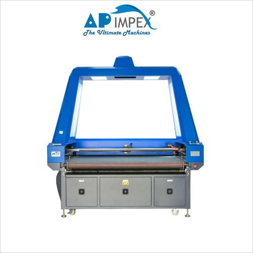 Auto feeding flying scan laser cutting machine for printed fabrics