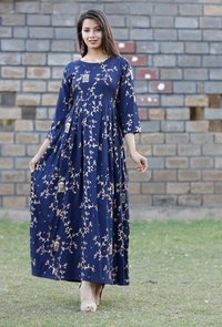 Rayon Gold Print Long  Dress