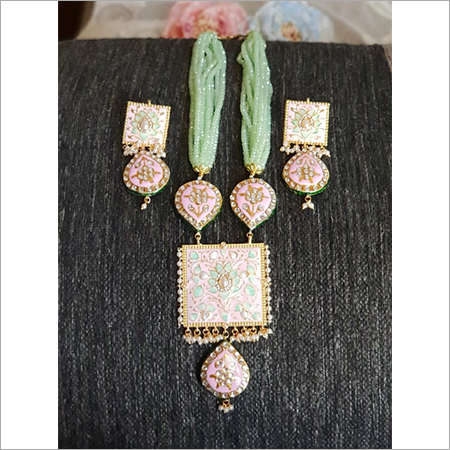 Long Kundan Pendant Necklace Set