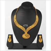 Simple Gold Plated Necklace Set