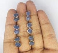 Blue Sapphire Rough Stone Stud Earrings - September Birthstone Earring