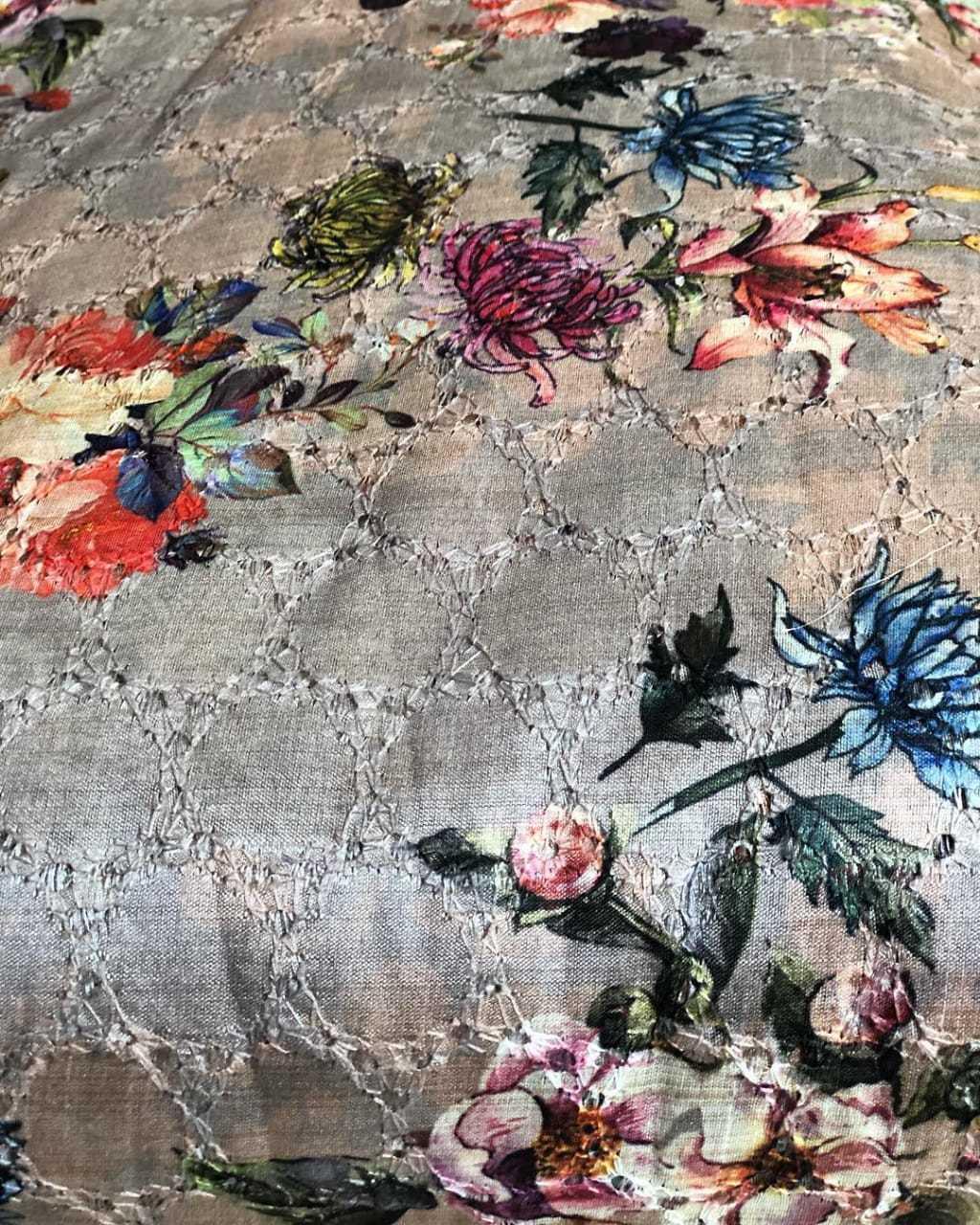 Chikankari Digital Printed Fabric