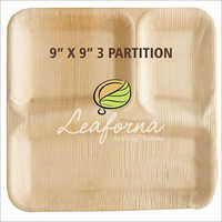 3 Partition Square Areca Plate