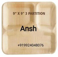 3 Partition Square Areca Palm Plate