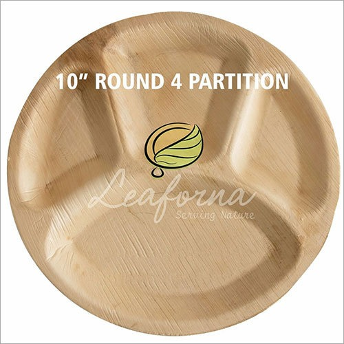 4 Partition Round Areca Leaf Plate