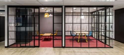 SPS Sliding Modular Aluminum Glass Door Office Partition