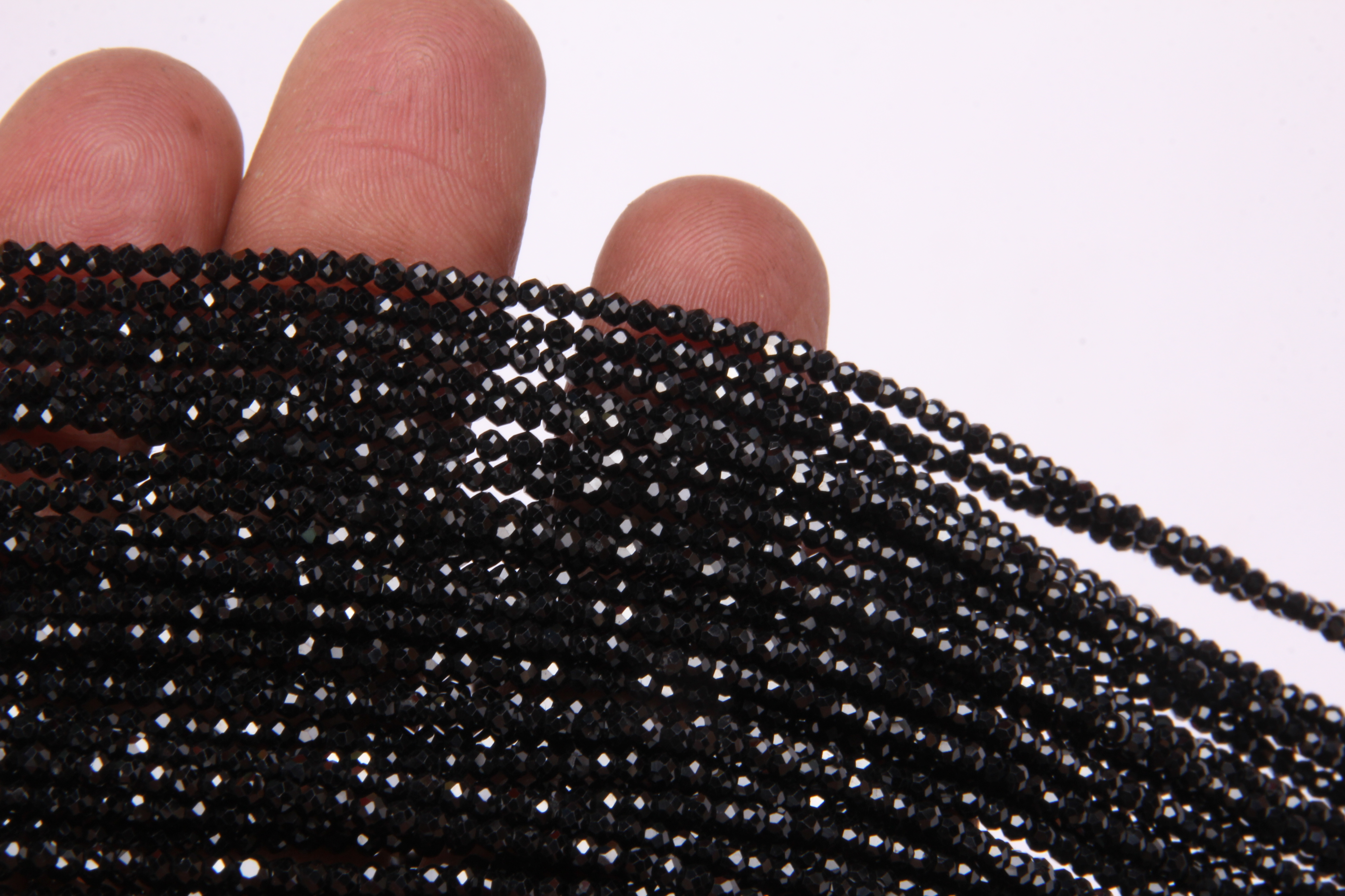 Black Spinel Micro Round Beads