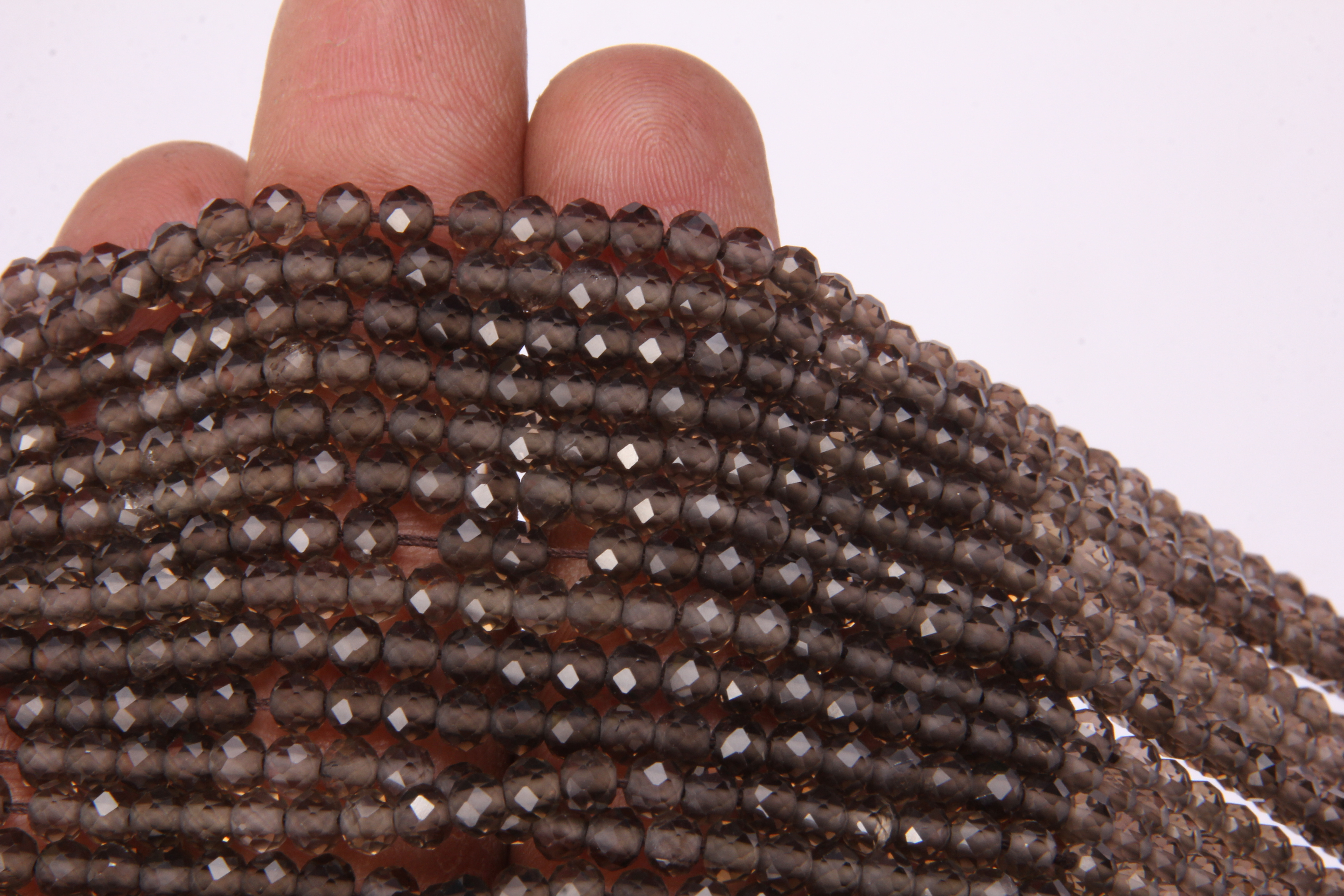 Smoky Quartz Micro Faceted Beads