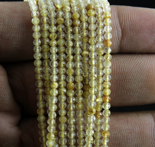 Golden Rutile Quartz Micro Beads