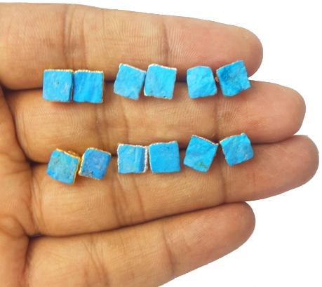 Turquoise Rough Stone Stud Earrings - December Birthstone Earring