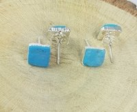 Turquoise Rough Stone Stud Earrings - December Birthstone Earring
