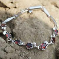 Oval Natural Garnet Sterling Silver Jewelry 925 Bracelet