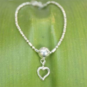 Heart Charms 925 Sterling Silver Hand made Bracelet