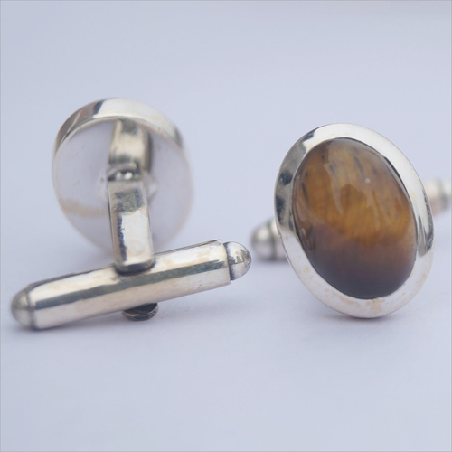 Oval Tiger Eye 925 Sterling Silver Cufflinks