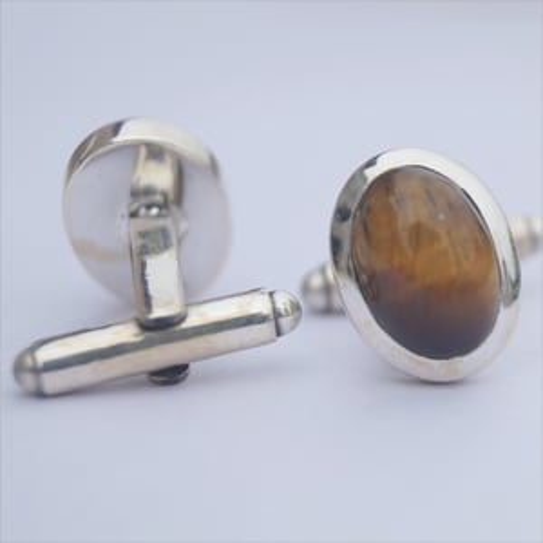 Oval Tiger Eye 925 Sterling Silver Cufflinks