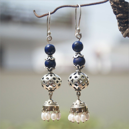 Beaded Lapis Cultured Pearl Jhumki 925 Silver Earrings