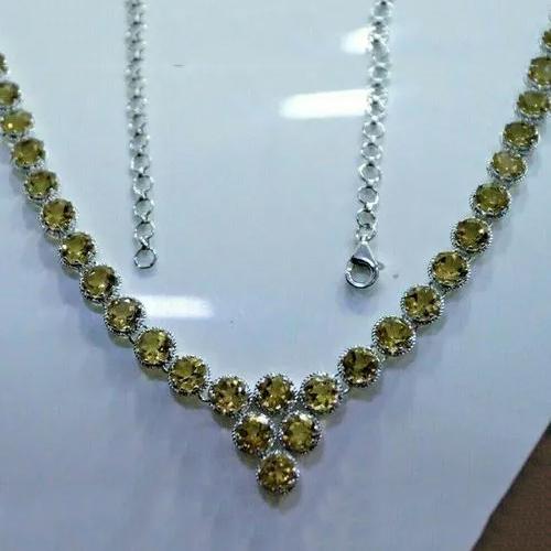 6 mm Round Citrine Gemstone Necklace