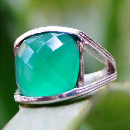 Chequed Cut Green Onyx Gemstone 925 Silver Ring