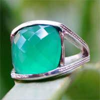 Chequed Cut Green Onyx Gemstone 925 Silver Ring
