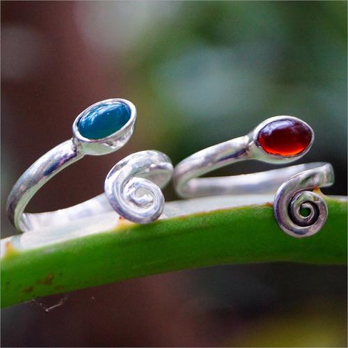 Oval Carnelian and Green Onyx Gemstone 925 Silver Toe Ring