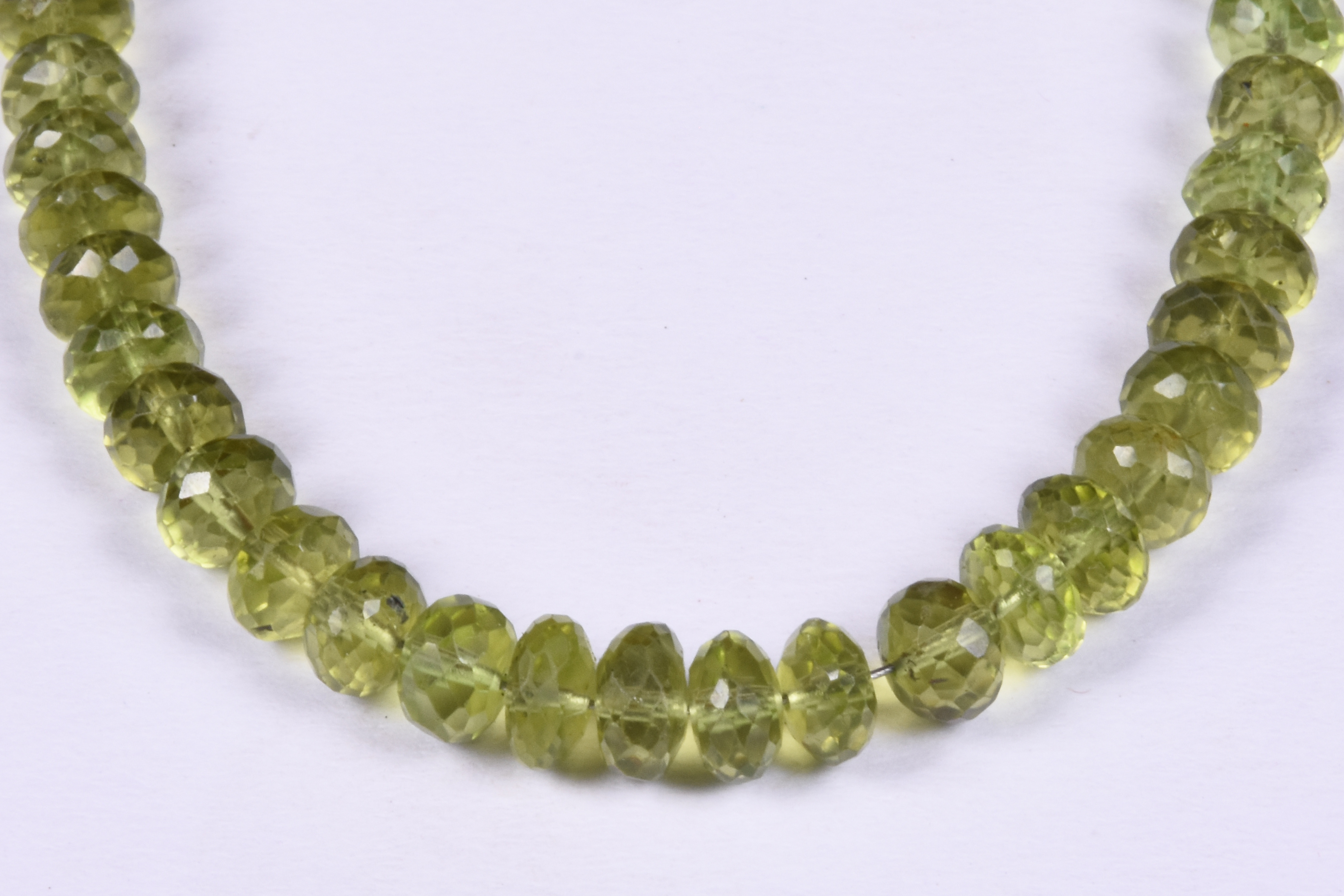Peridot faceted Roundel Beads