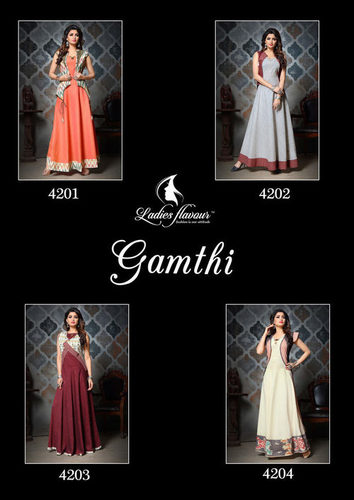 Gamthi Ladies Flavour South Cotton Kantha Work Kurtis