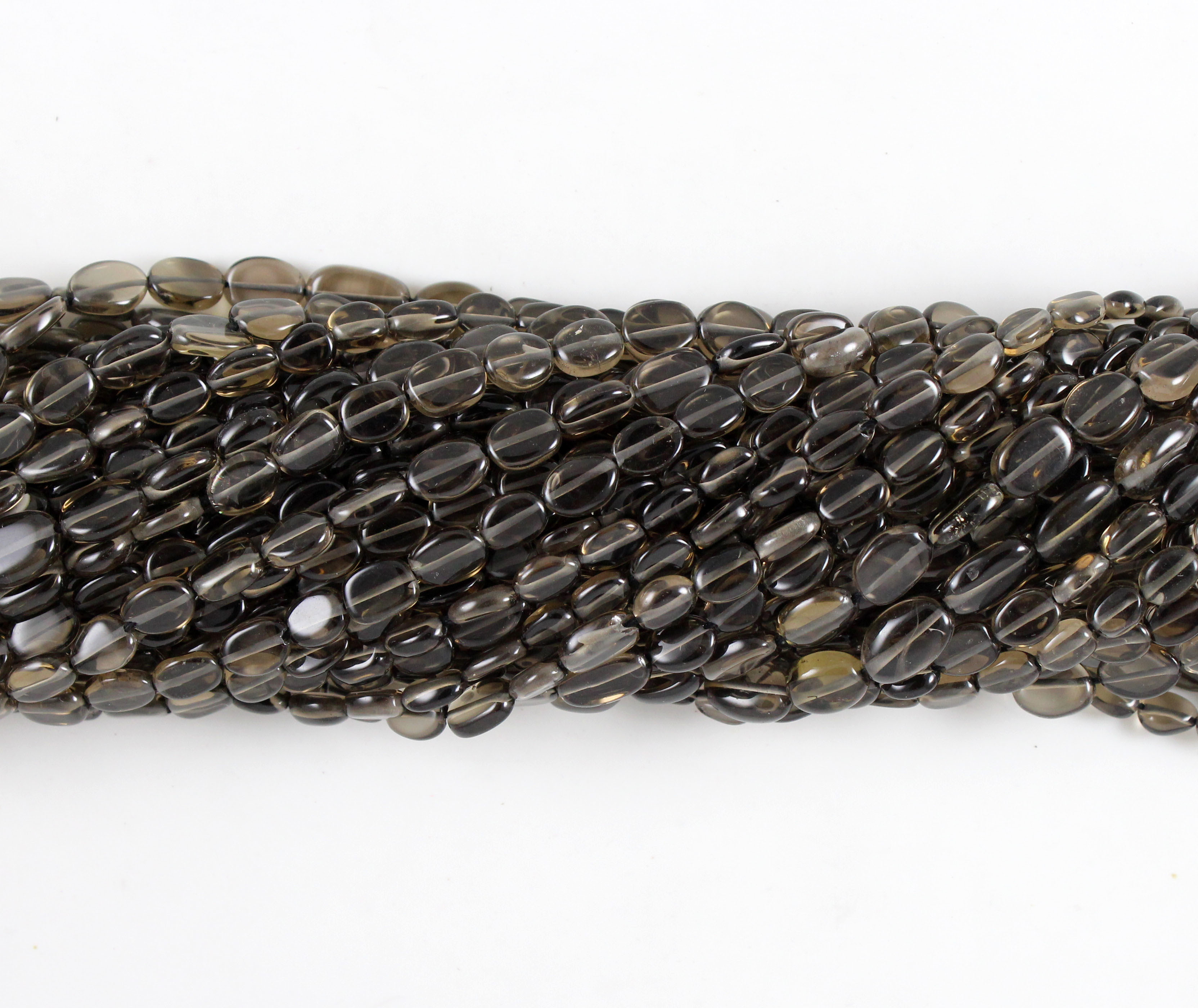 Smoky Quartz Smooth Oval Beads