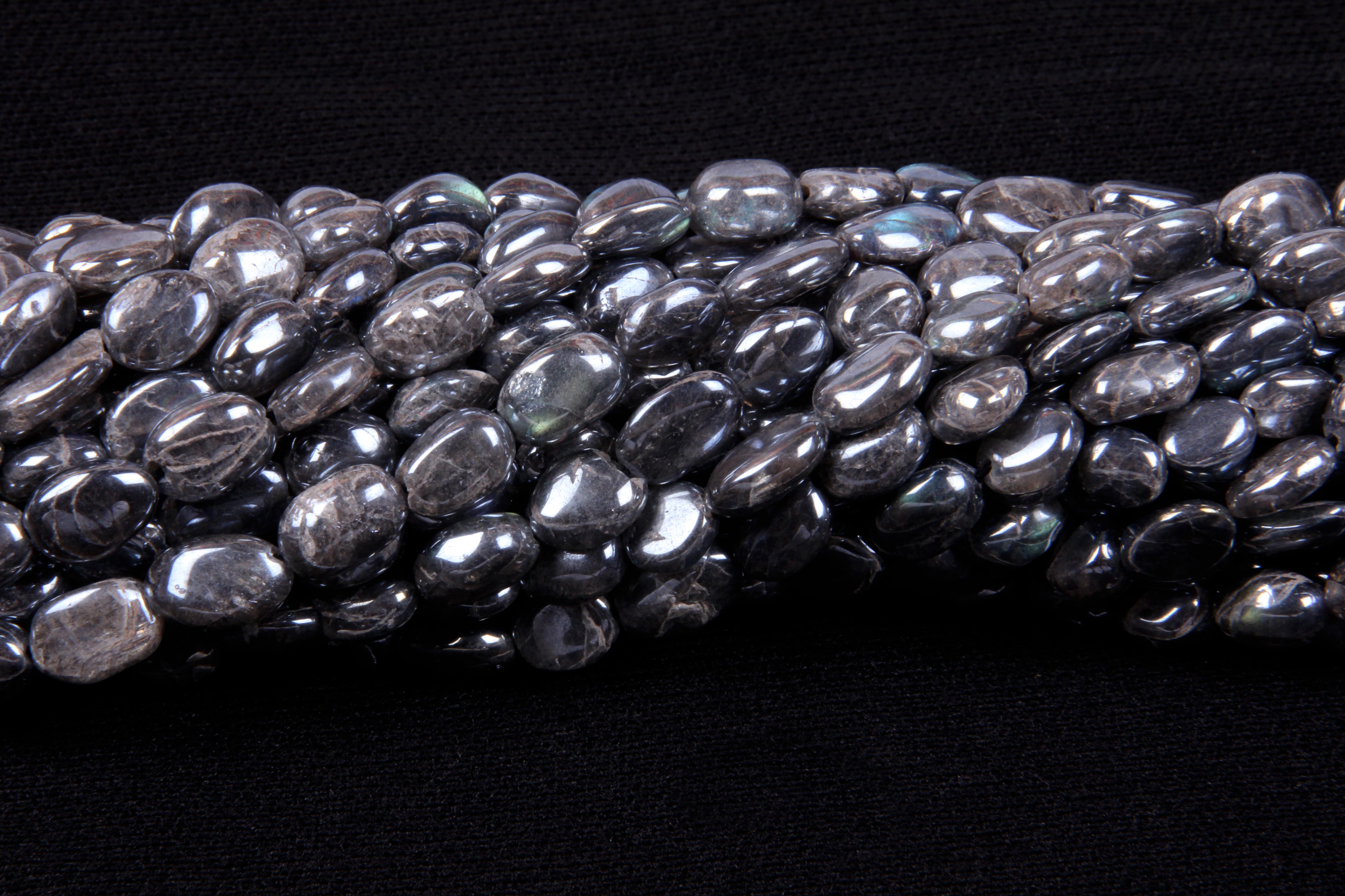 Labradorite Coated Oval Beads