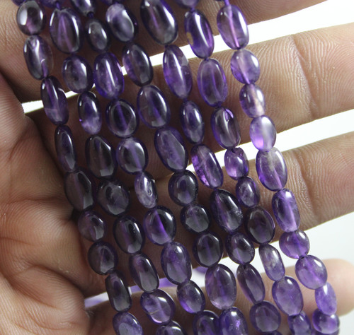 Amethyst Plain Oval Beads