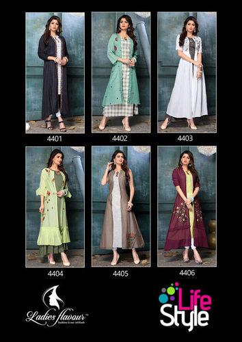 Life Style Ladies Flavour Cotton Rayon Wholesale Kurti