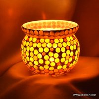Multi Mosaic Glass T-Light Votive