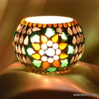 Multi Mosaic Glass Candle Votive
