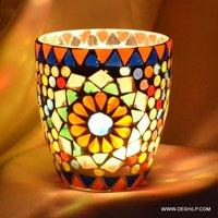 Multi Mosaic Glass T Light Votive