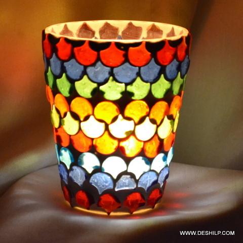 Multi Mosaic Glass T Light Candle