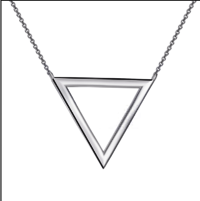 New Products 2018 Hollow Triangle Pendant Chain Women Sterling Silver Necklace