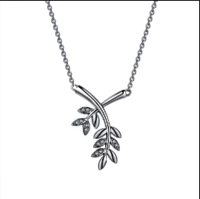 China Suppliers Leaf Chain Necklace Silver Brass Jewelry