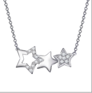 Fashion Five-pointed Star Clavicle Necklace 925 Sterling Silver Brass Jewelry