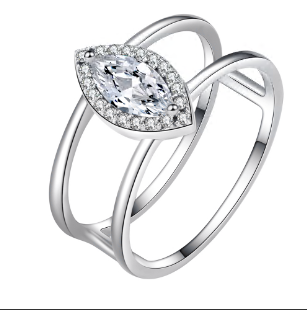 Marquise Rhodium Plated 925 Silver I-ring