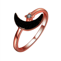 Star Moon Rose Gold Plated Silver Jewelry Ring