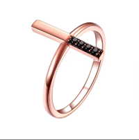 Cubic Zirconia Pure 925 Silver Rose Gold Plated Cross Ring