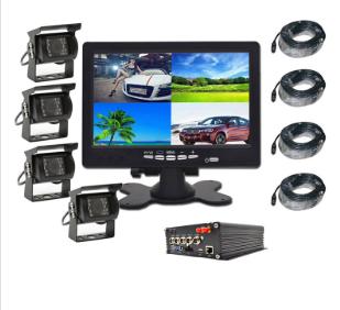 Vehicle HD DVR Heavy Duty 4 Cameras CCD Monitor System