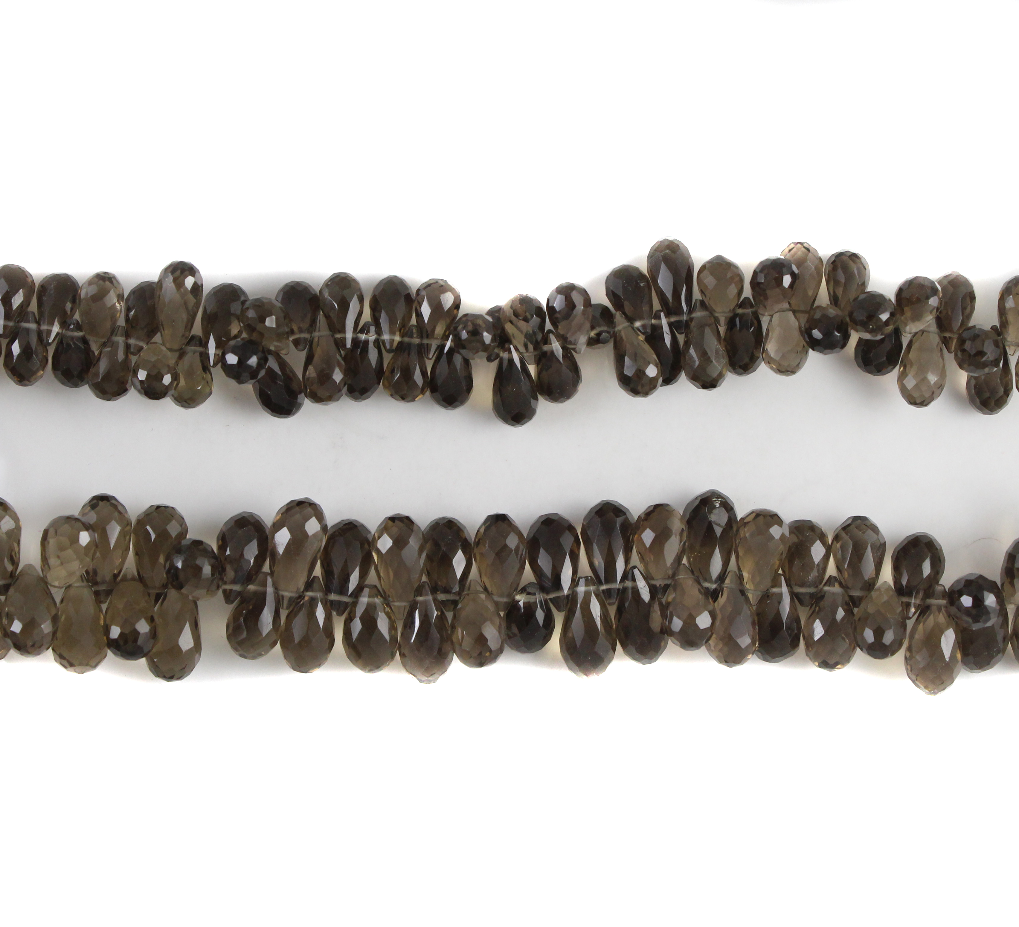 Smoky Quartz Faceted Drop Beads