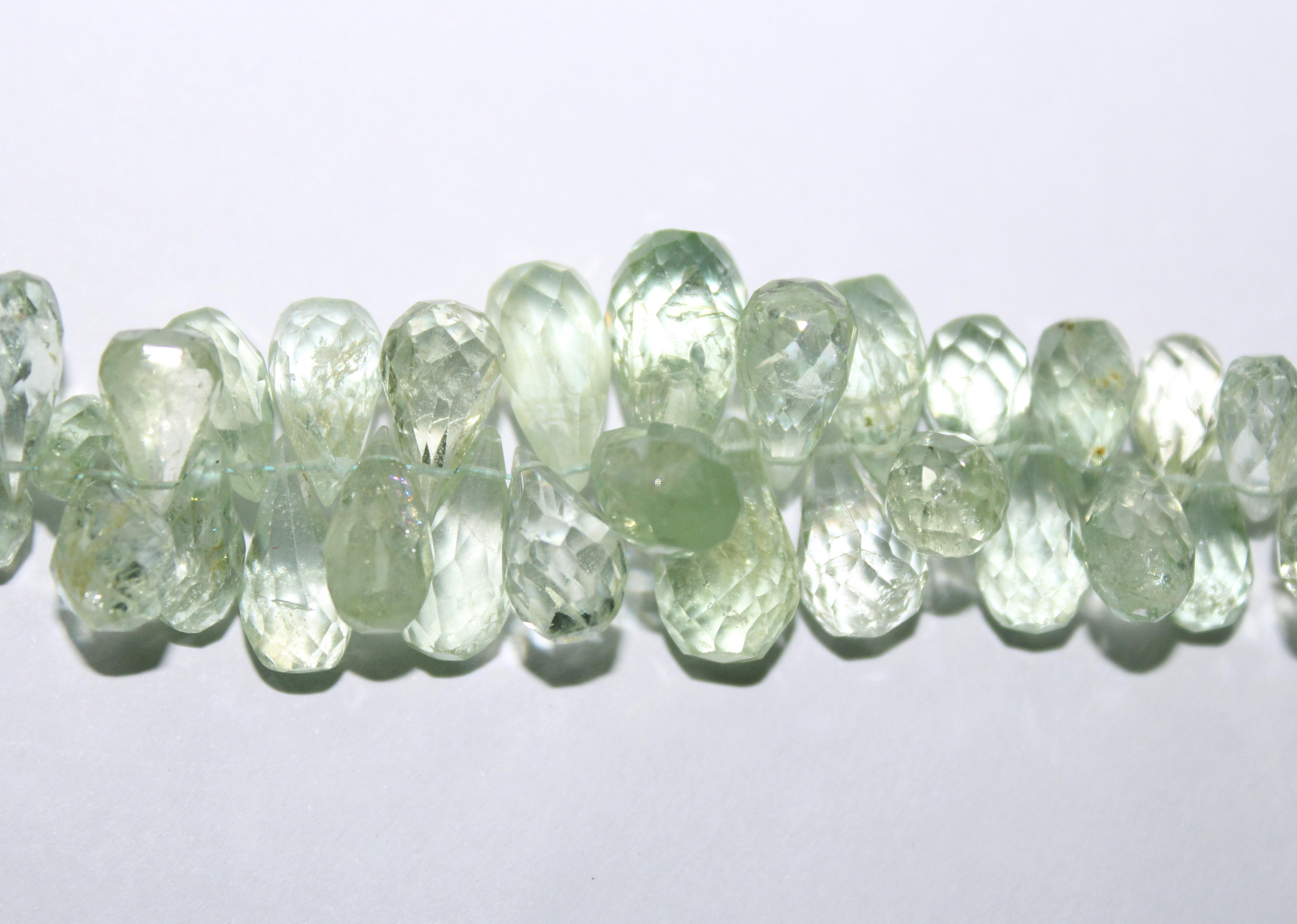 Aquamarine Faceted Drop Beads
