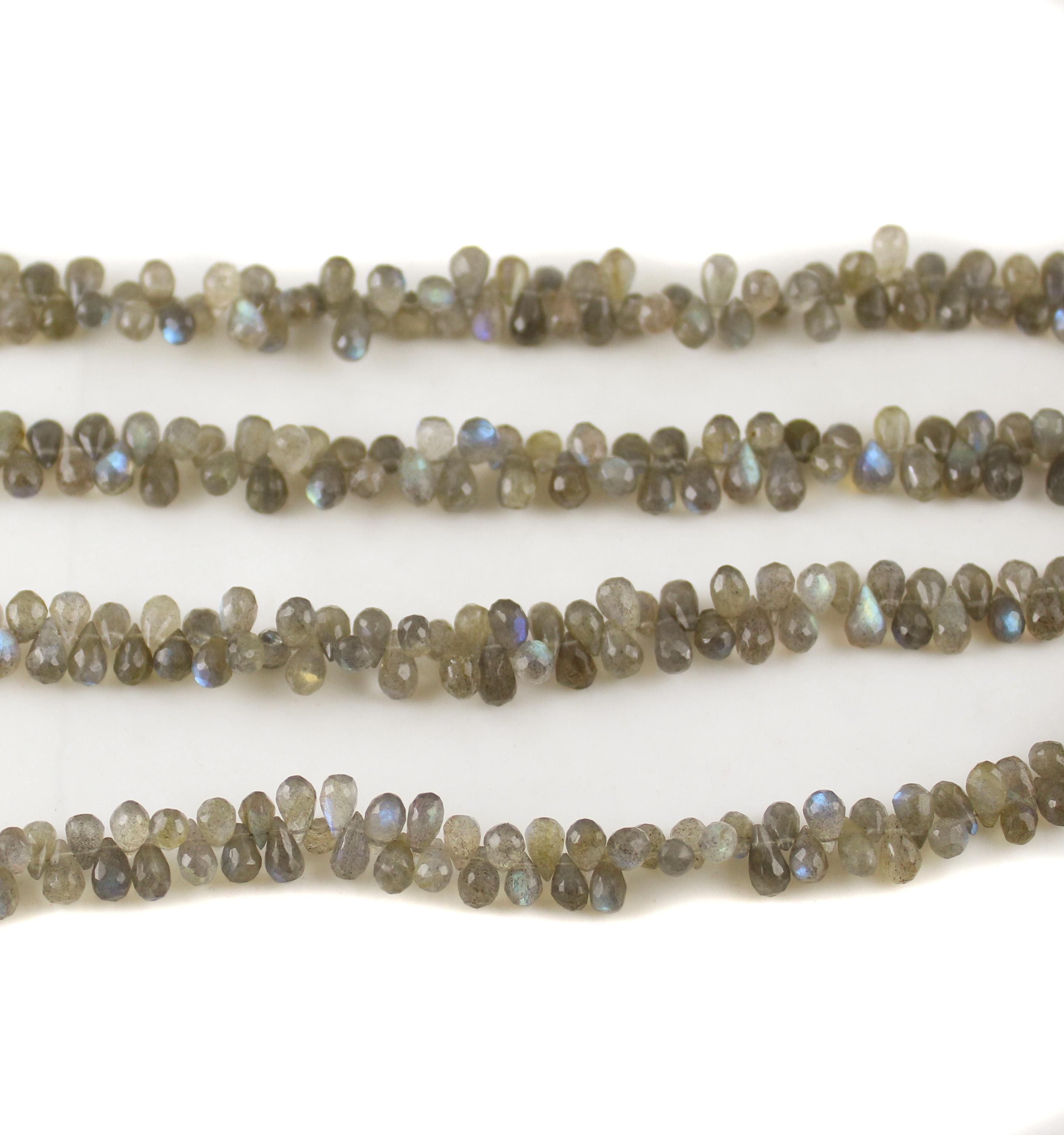 Labradorite Faceted Drop Beads